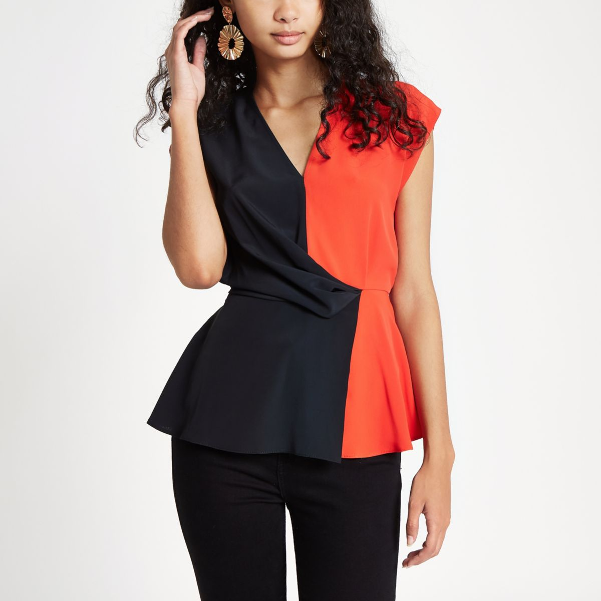 Black block print tuck front blouse