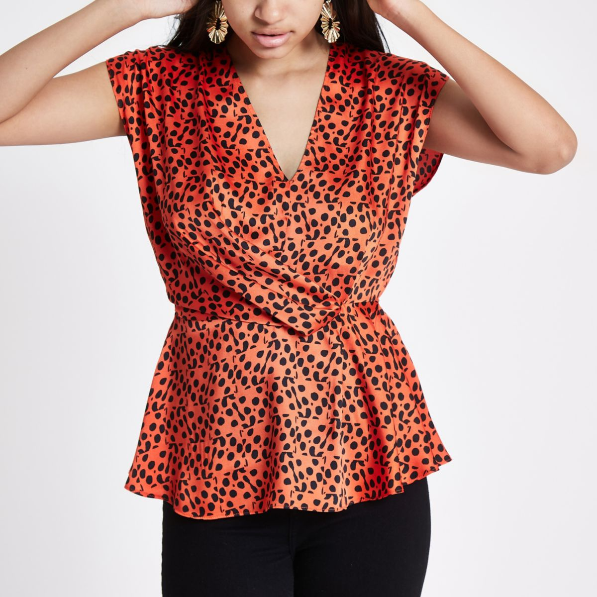 Red print wrap tuck front blouse