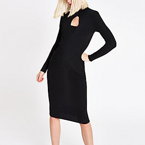 RI Studio black wrap front dress