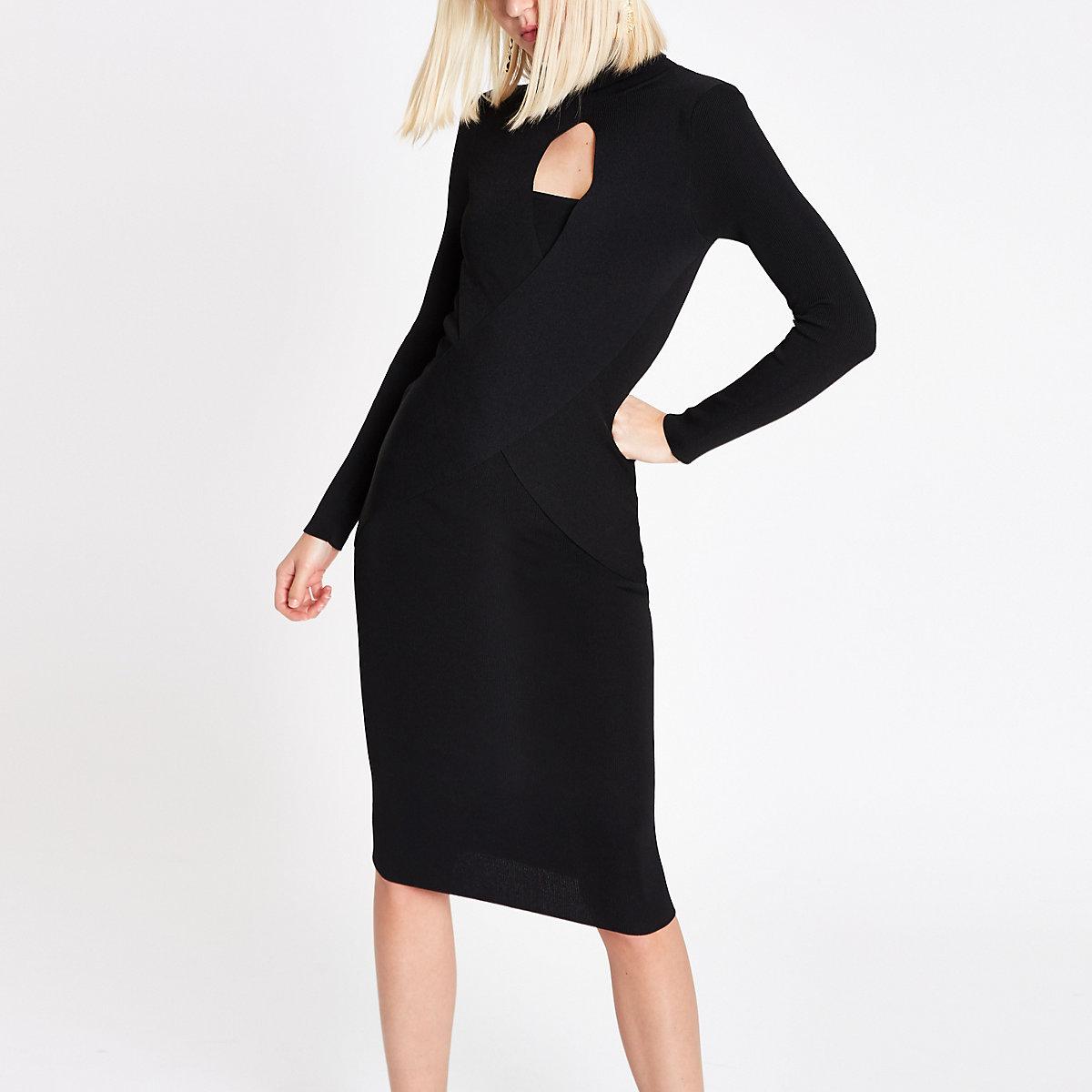 RI Studio black wrap front dress