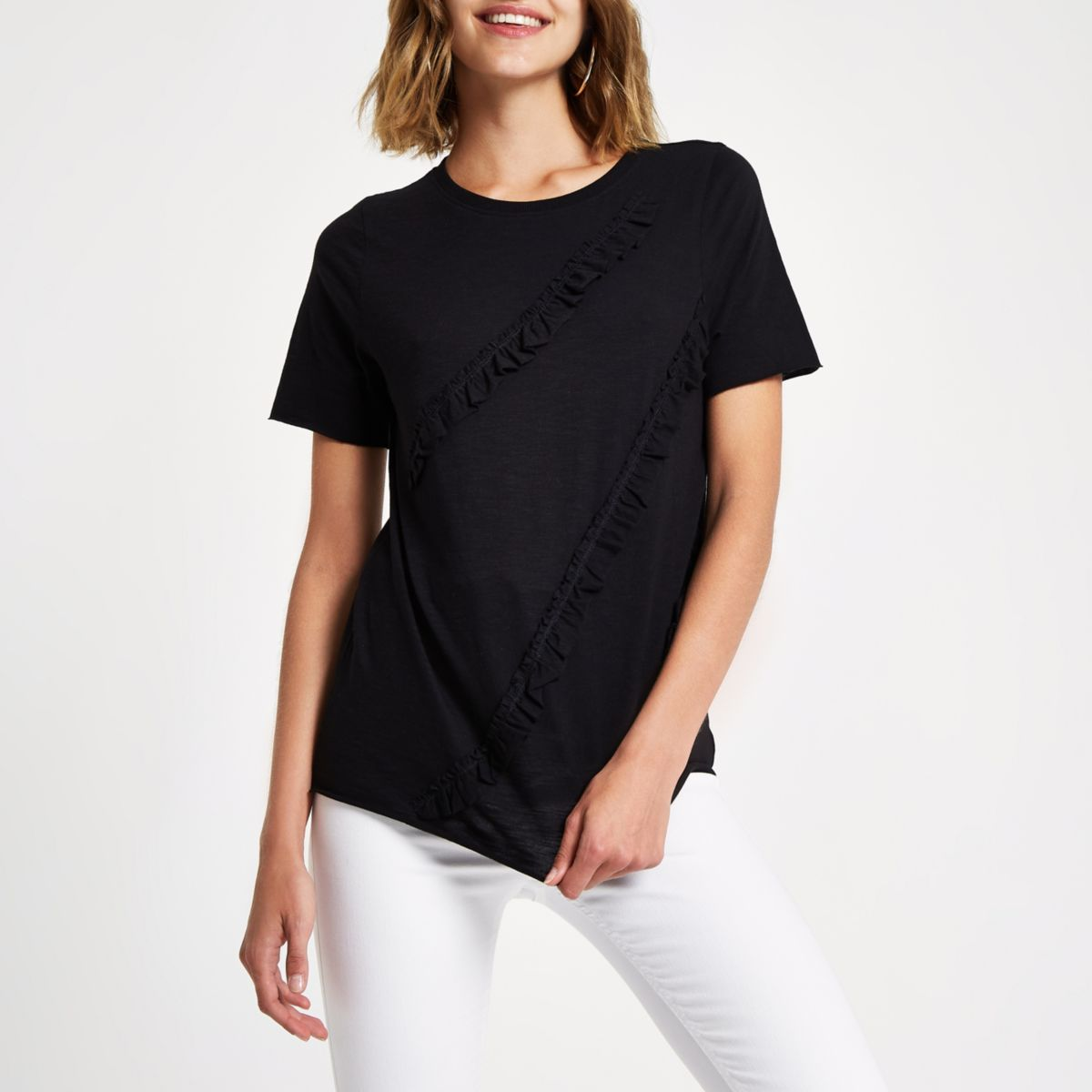 Black ruffle T-shirt