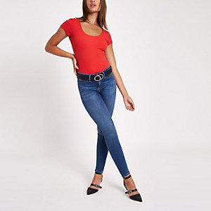 Red rib scoop neck bodysuit