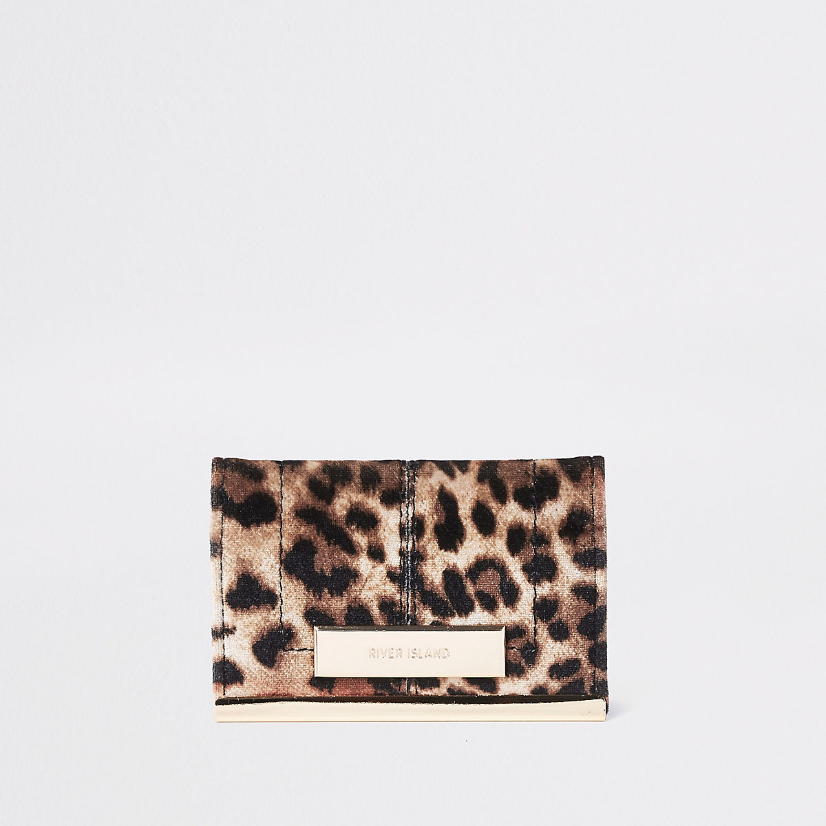 Brown leopard print travel card holder