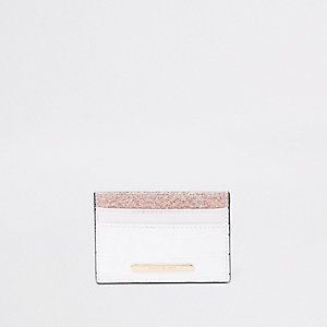 White metallic travel card holder