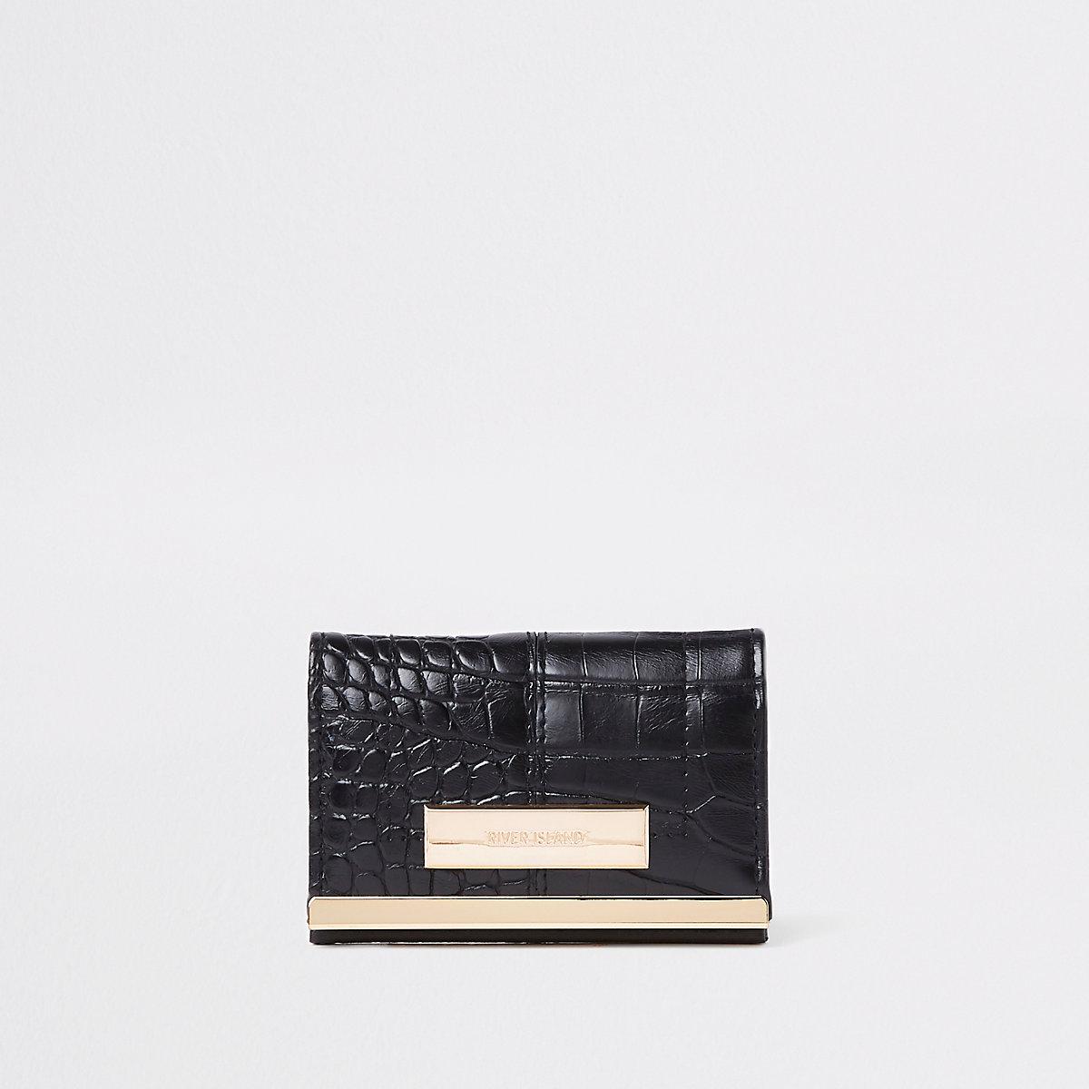 Black croc travel card holder