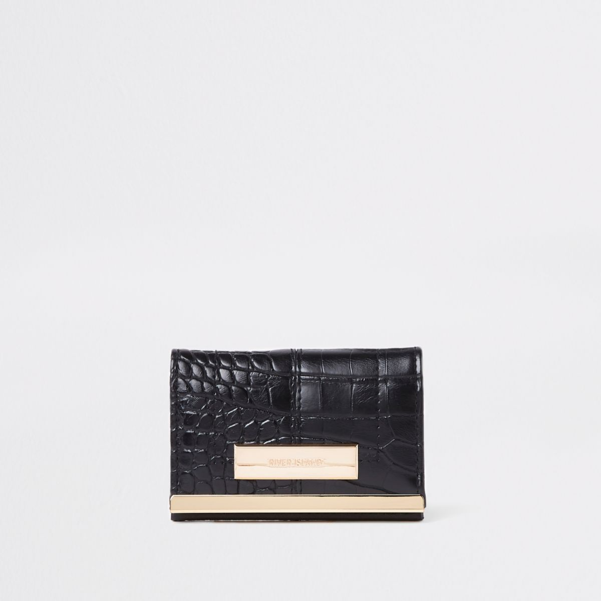 Black croc travel card holder