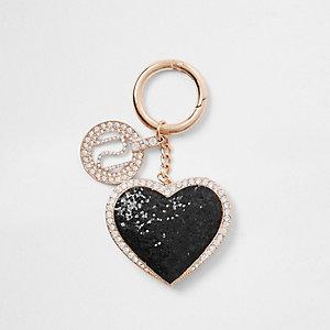 Black glitter heart keyring