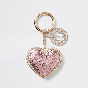 Light pink glitter heart keyring