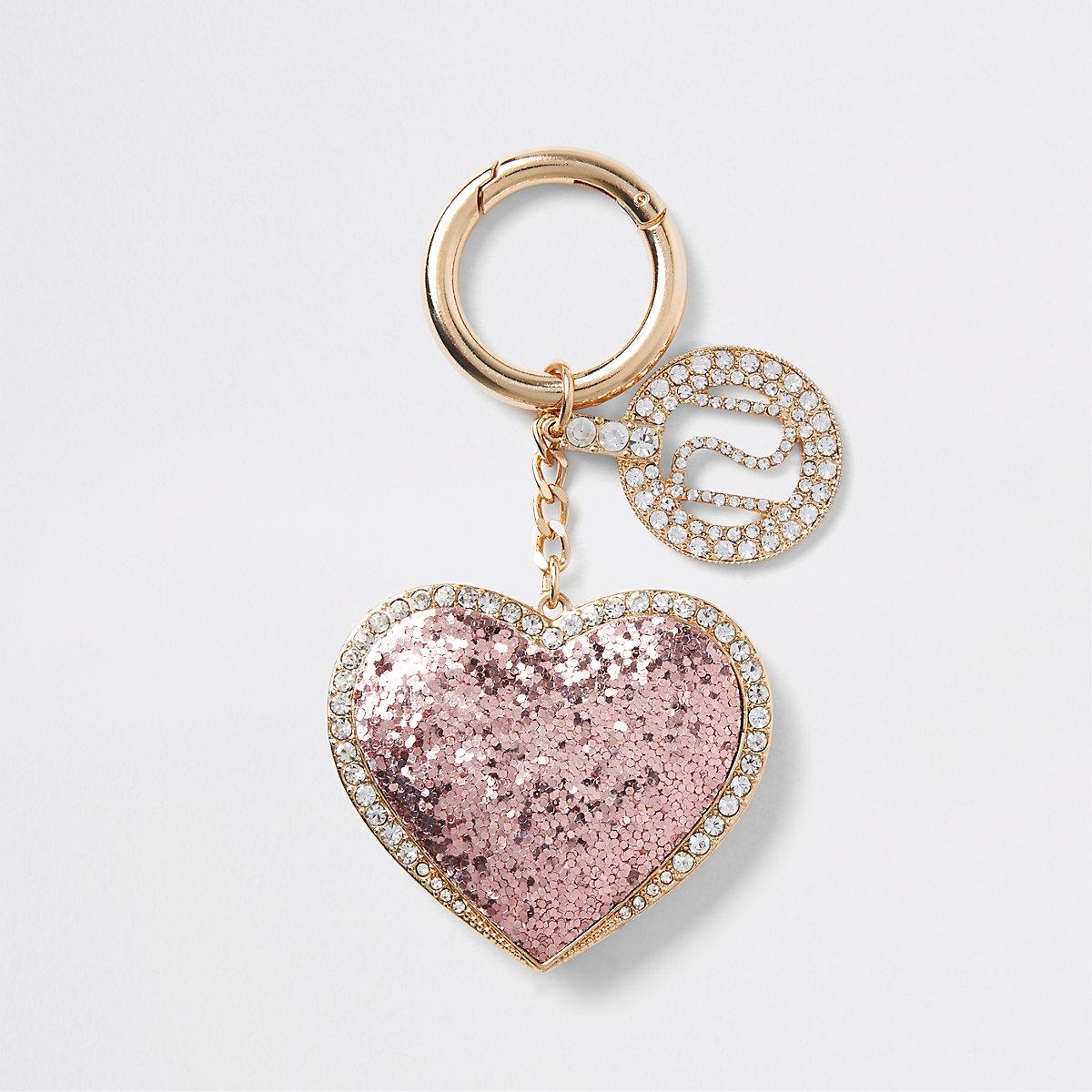 Light pink glitter heart keyring