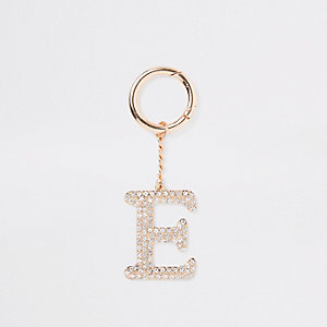 Gold tone diamante 'E' keyring