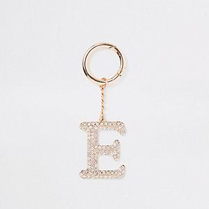 Porte-clés «E» doré à strass