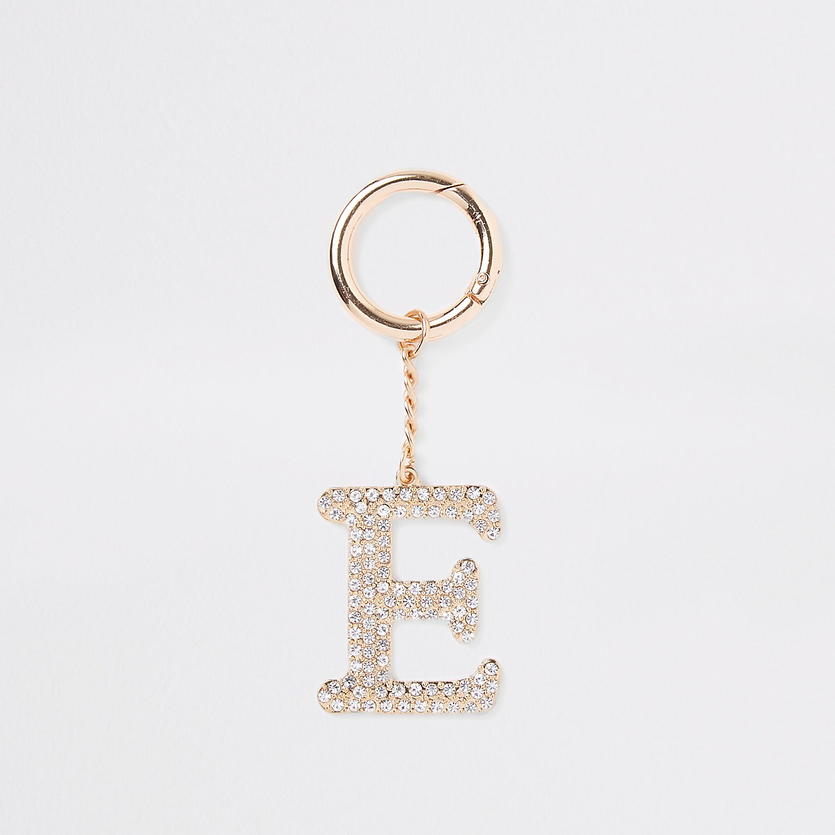 Gold tone diamante 'E' keyring