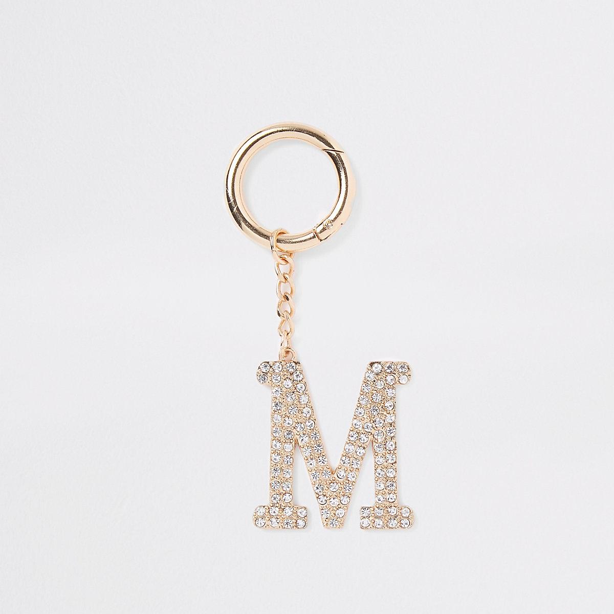 Gold tone diamante 'M' keyring