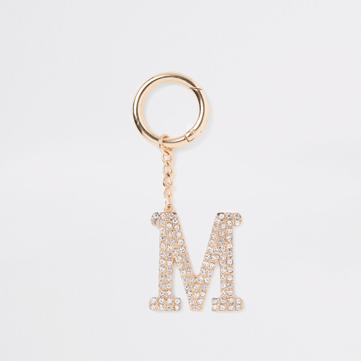 Gold tone diamante 'M' keyring