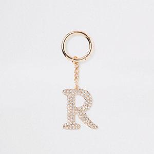 Gold tone rhinestone 'R' keyring