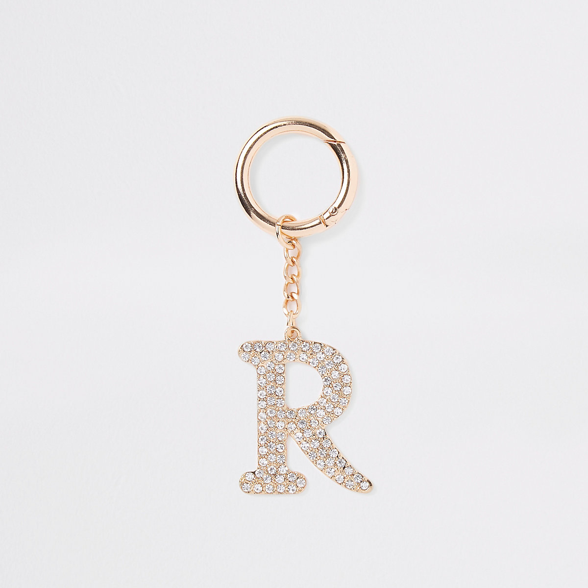 Gold tone diamante 'R' keyring
