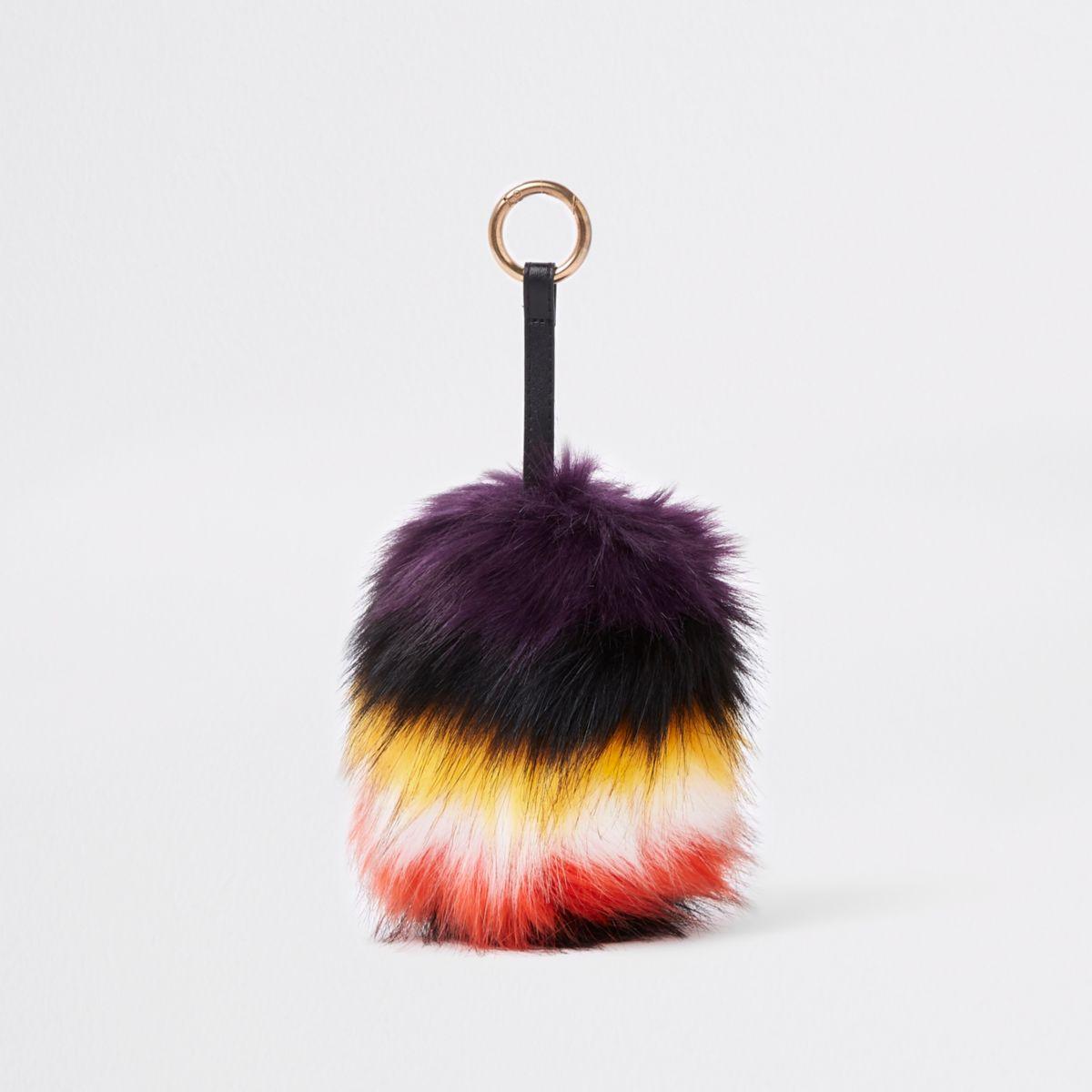 Multi-colour large faux fur pom pom keyring