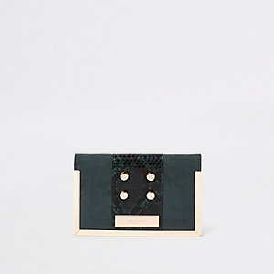 Dark green snake print stud passport holder