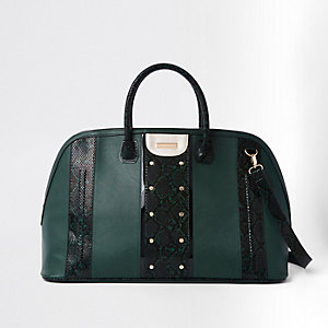 Dark green snake print panel studded holdall