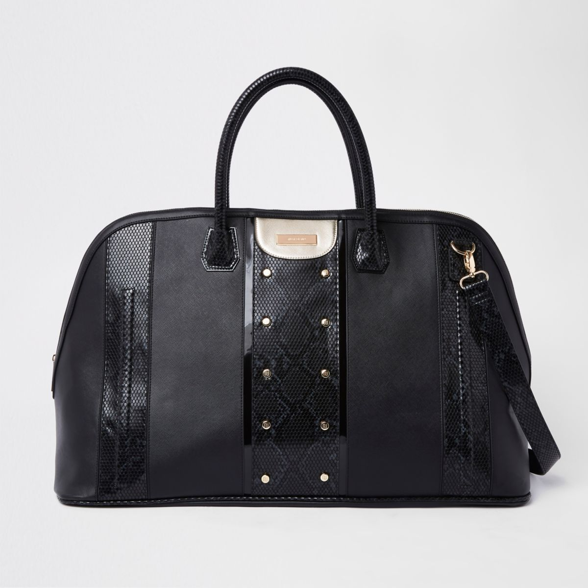Black snake print panel studded holdall