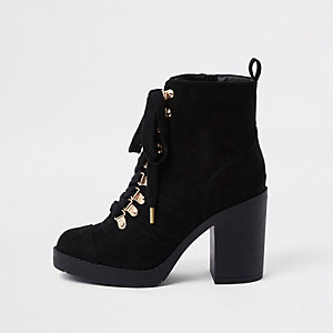 Black chunky wide fit lace-up boots