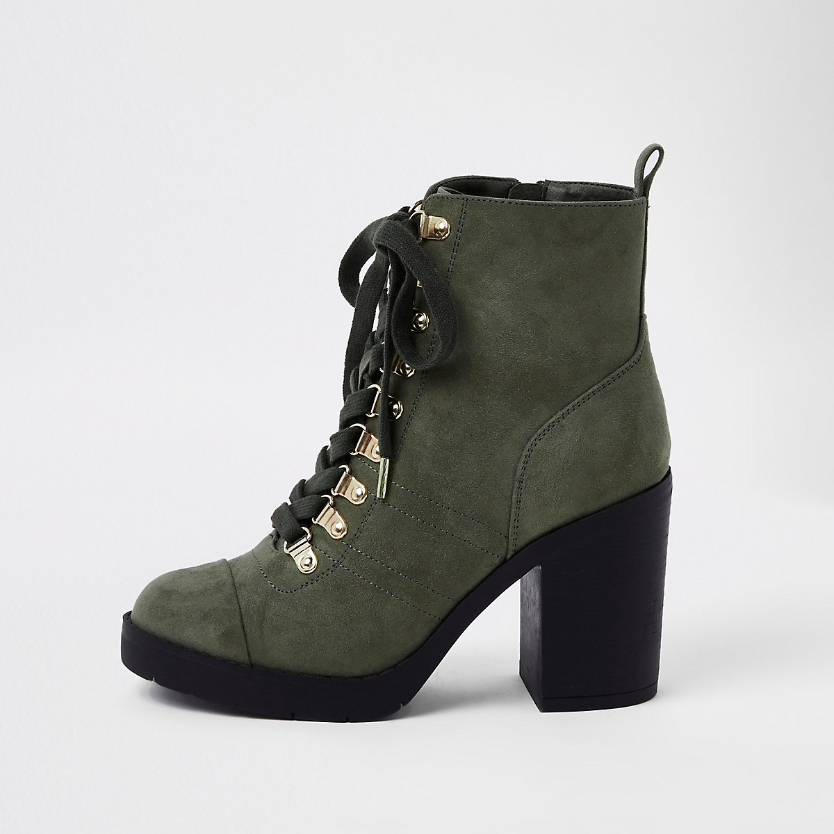Khaki green chunky wide fit lace-up boots