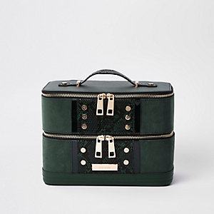 Dark green snake print studded vanity case