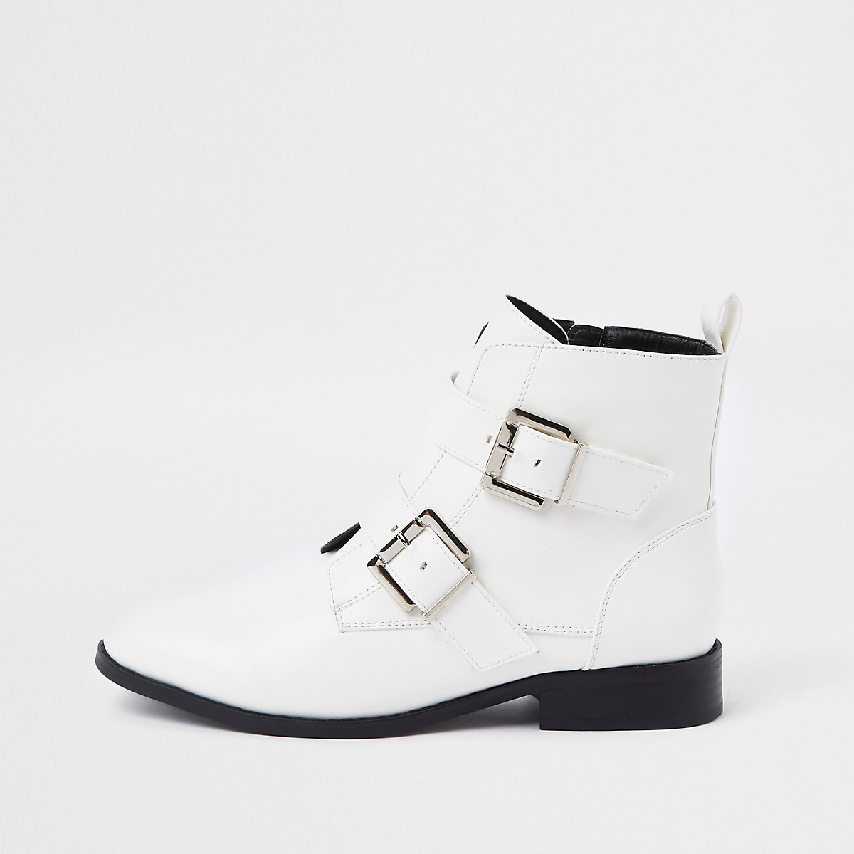 White buckle wide fit biker boots