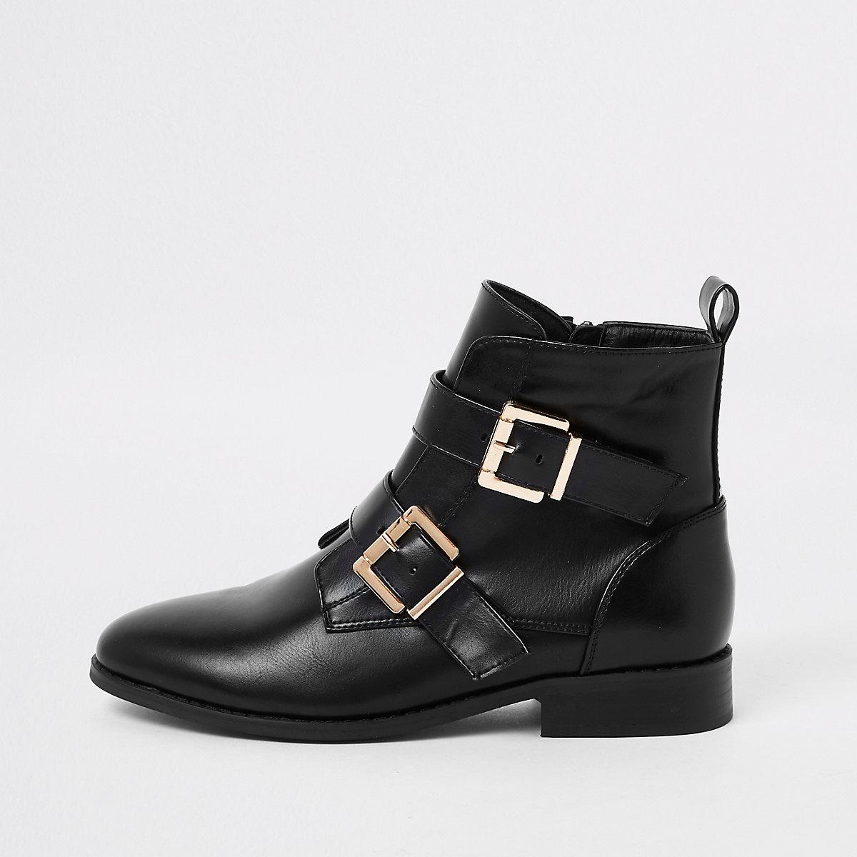 Black buckle wide fit biker boots