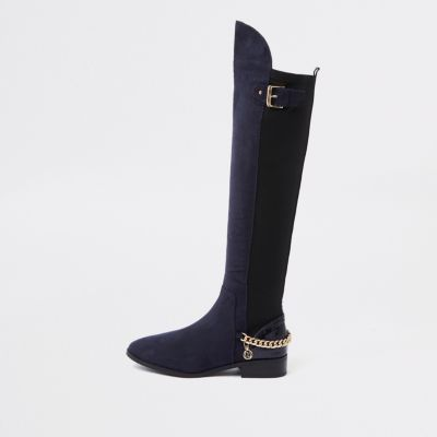 Navy Over The Knee Wide Fit Chain Boots by River Island