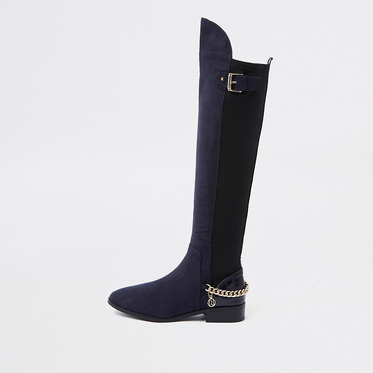 Navy over the knee wide fit chain boots