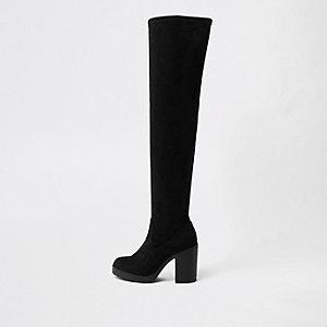 Zwarte stevige laarzen tot over de knie met brede pasvorm