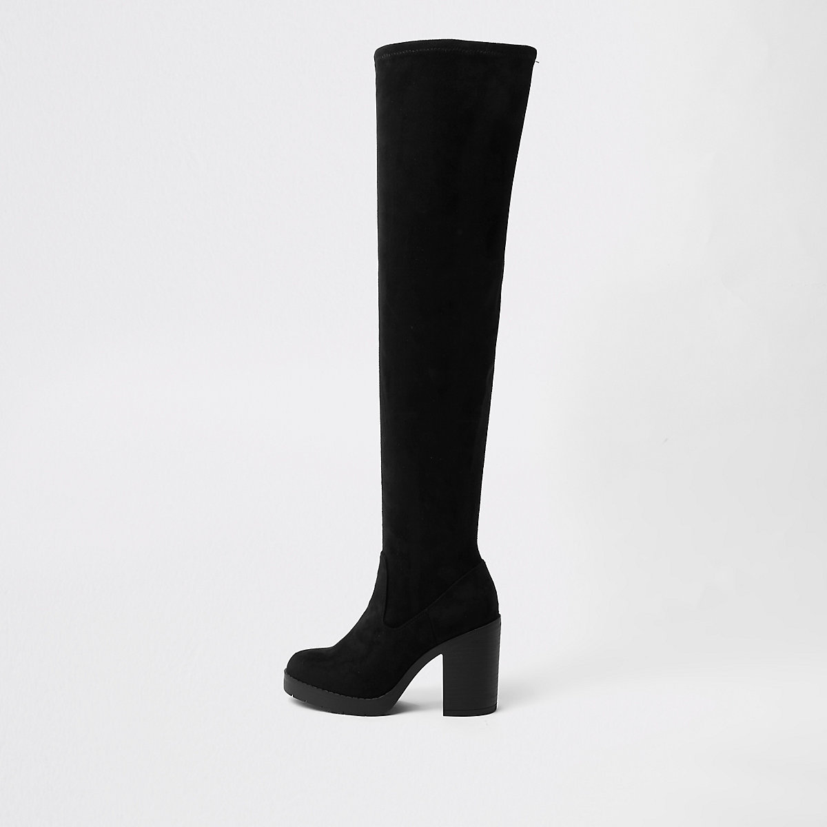 Black wide fit chunky over the knee boots