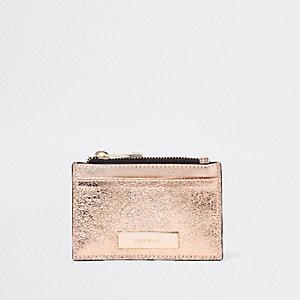 Porte-carte rose doré métallisé avec pochette zippée
