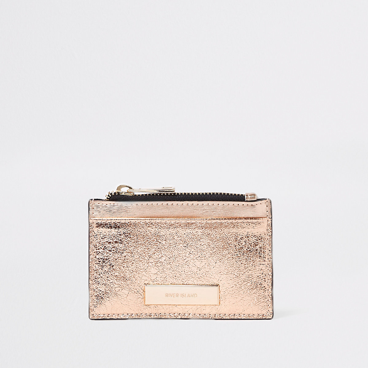 Rose gold metallic zip pouch card holder
