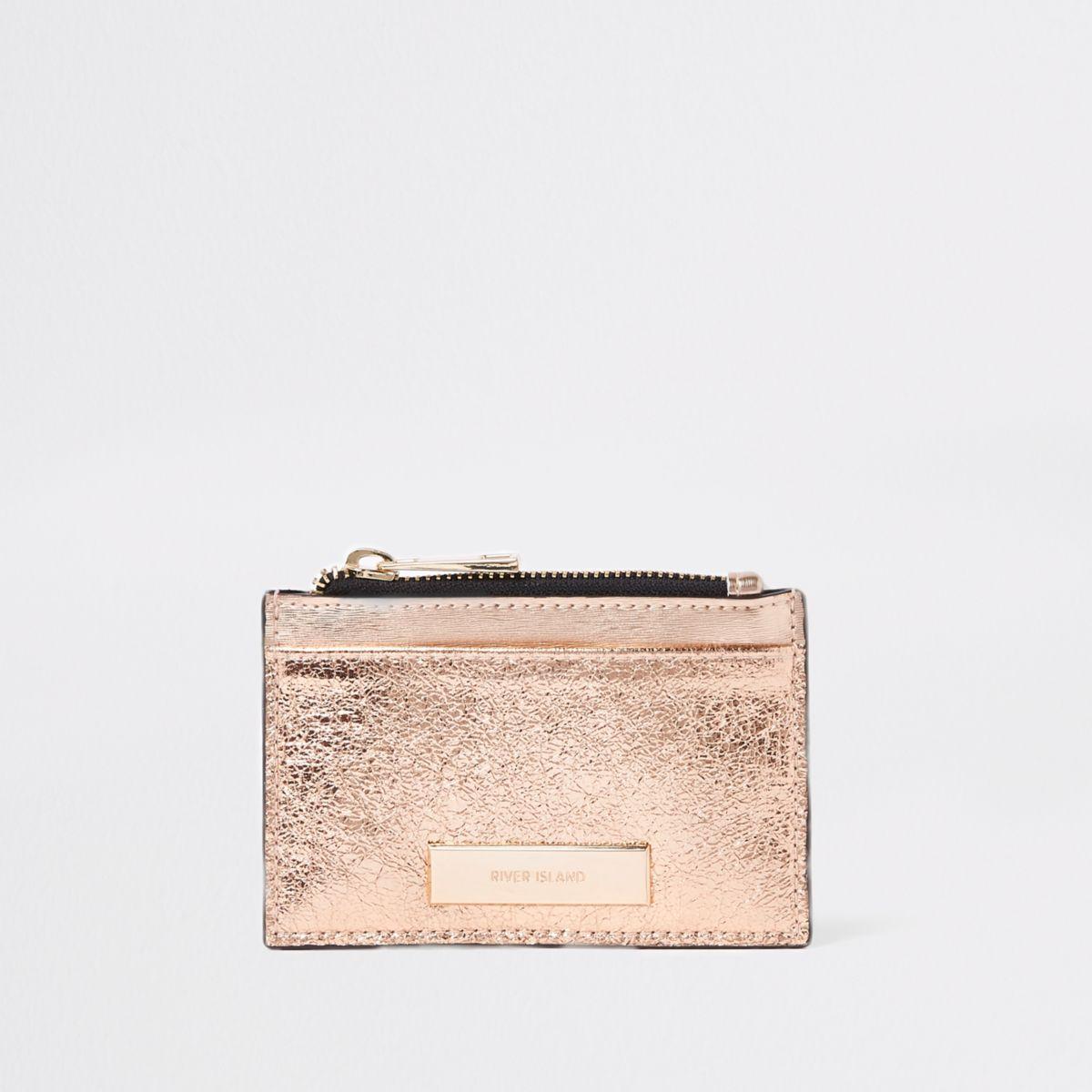 Rose gold metallic zip pouch card holder