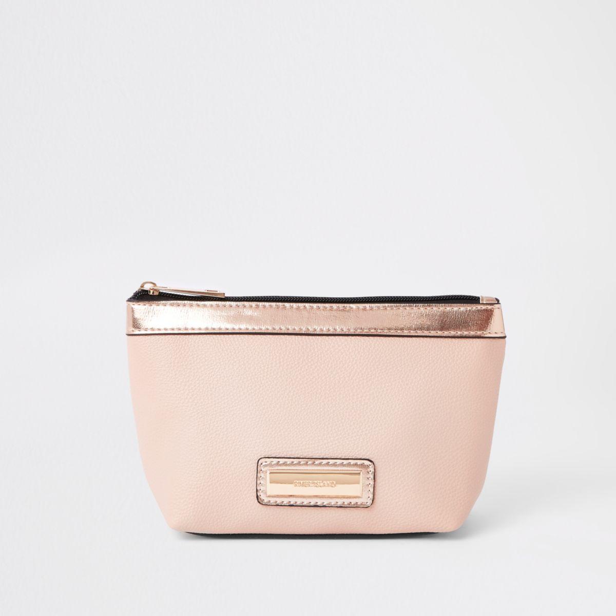 Pink metallic panel makeup bag