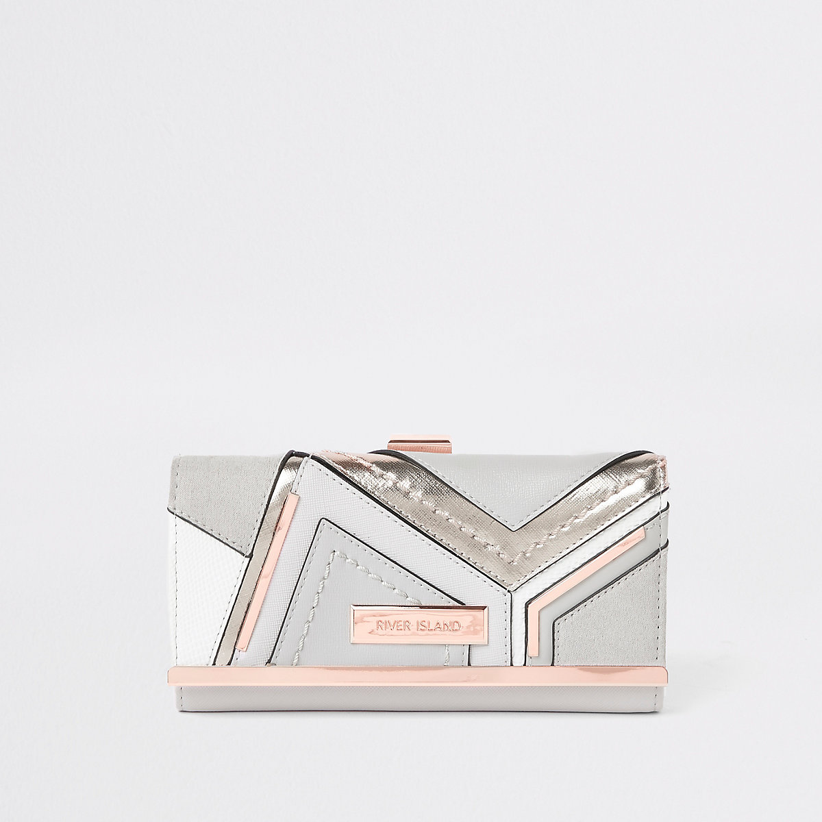 Grey metallic cutabout cliptop purse