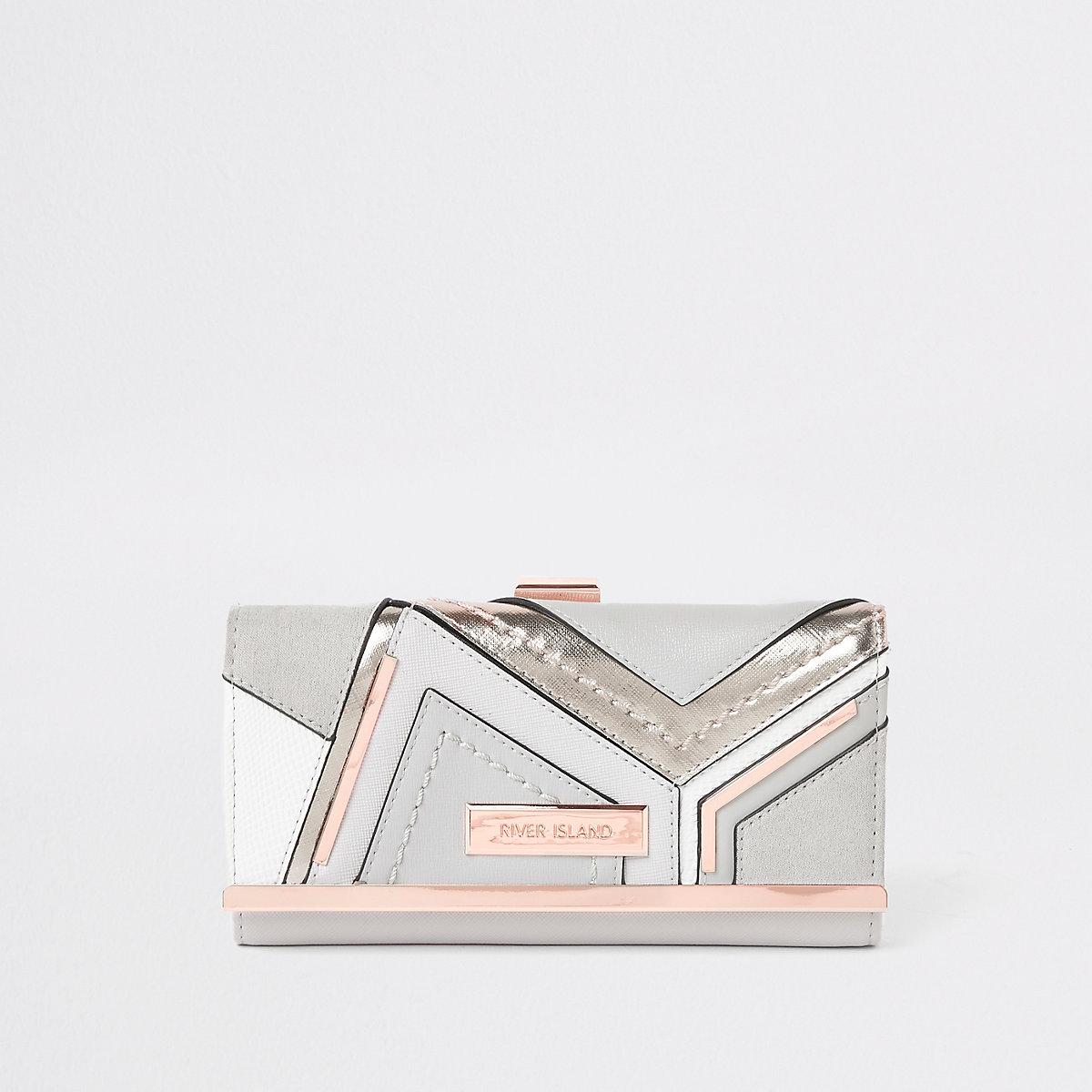 Grey metallic cutabout cliptop purse