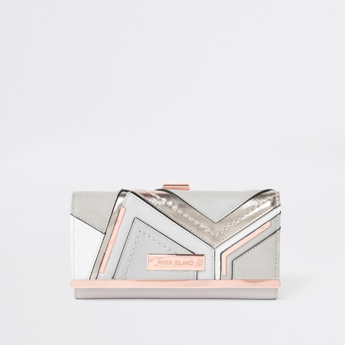 Grey metallic cutabout clip top purse