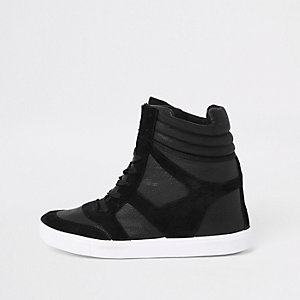 Black wedge lace up trainers