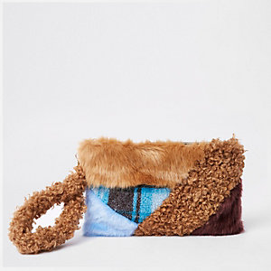 Brown faux fur patch clutch bag