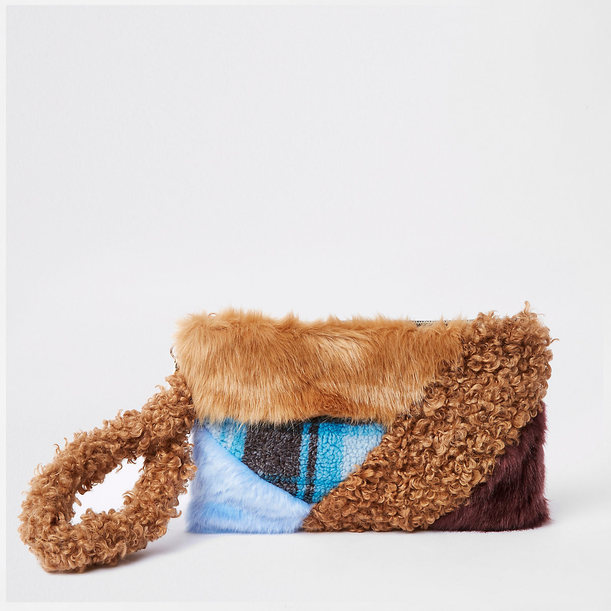 Brown faux fur patch clutch bag