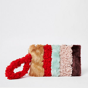 Brown faux fur panel clutch bag
