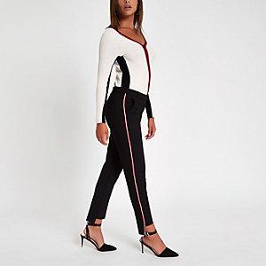 Pantalon cigarette noir avec bande latérale