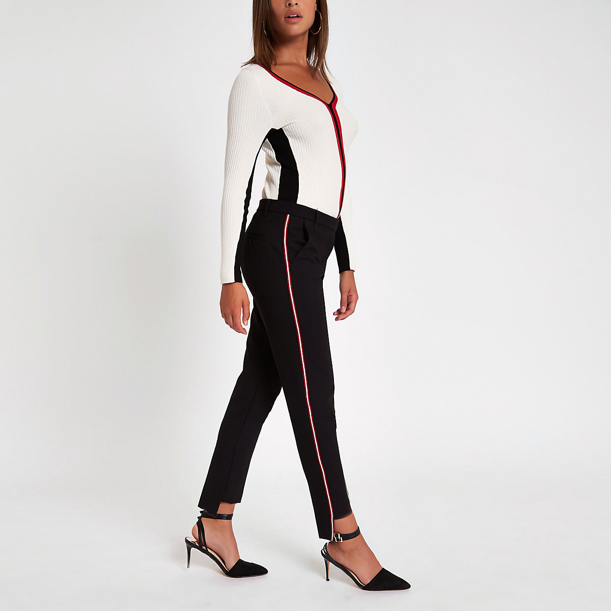 Black tape cigarette trousers