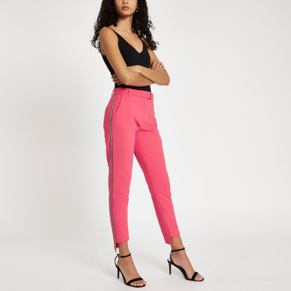 Pink side stripe cigarette trousers