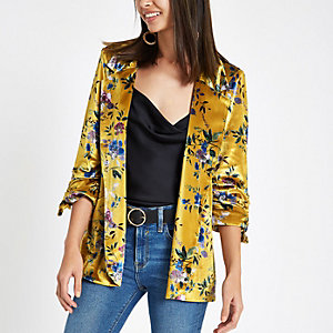 Yellow floral print ruched sleeve blazer