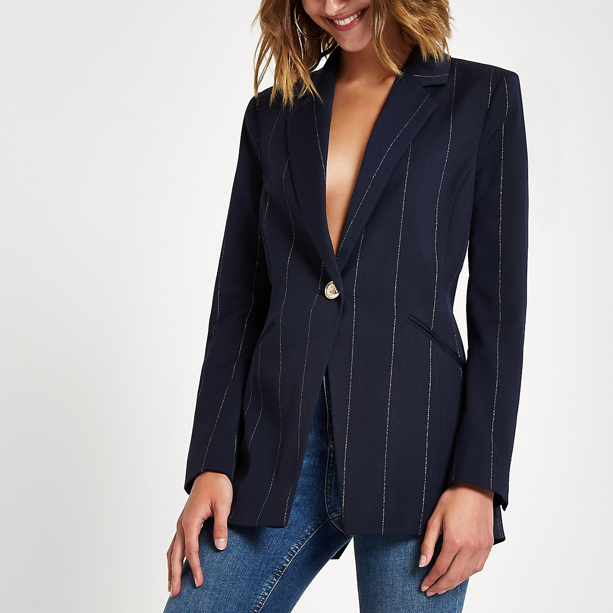 Navy stripe fitted twist back blazer
