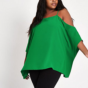 Plus green cold shoulder cape sleeve top
